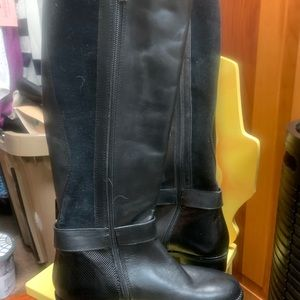 Black Italian Made leather boots size woman's 4